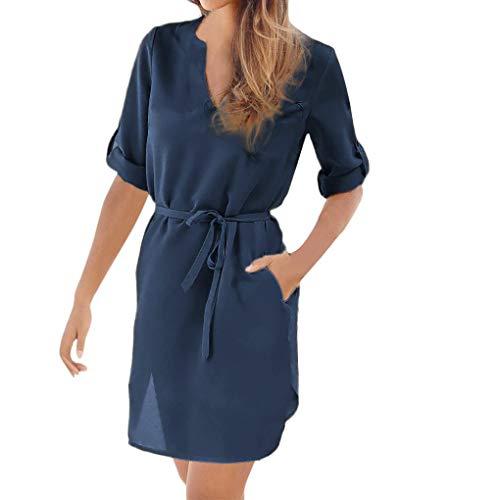 WomensClothingClearance,KIKOY 1/5 Sleeved V-Neck Lace-up Hem Beach - Hem Dress Petal Silk