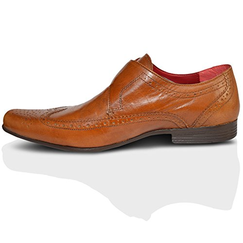 Red Tape Hammond Black Leather Brogue Monk Pointy Toe Buckle Mens Shoes UK 7-11 Tan Pwdx4v