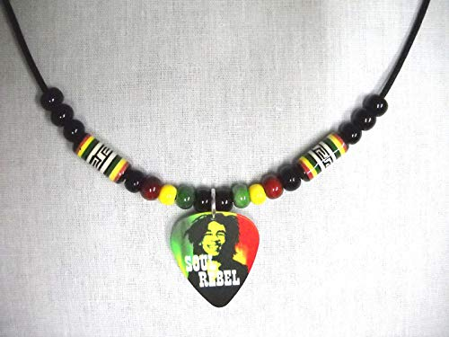 BOB Marley Soul Rebel Guitar Pick Assorted Rasta Color Ceramic Bead ADJ Necklace KEZ-2149