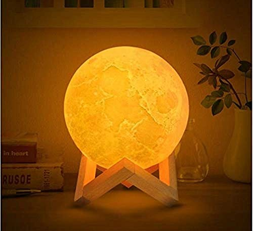 FreshDcart 1.5W Touch Sensor 3D Moon Light LED Lamp With Stand, Multicolour, Round