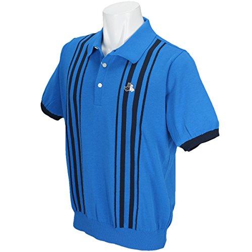 半袖ポロセーター メンズ ブラック&ホワイト Black&White 2018 春夏ゴルフウェア L(L) ブルー(33) b2718gske