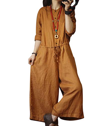 One Button Linen - YESNO PDB Women Casual Loose Overalls Jumpsuits Bib Pants 100% Linen Button-Up Long Sleeve Low Crotch Pockets