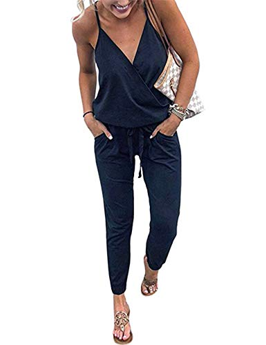 (Sundray Women's Cami Jumpsuits Summer Deep V-Neck Elastic Waist Romper Playsuits with Pockets Navy Blue L)