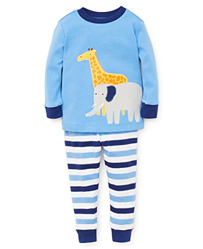 Little Me Baby Boy's Sleep Set Sleepwear, safari silver lake blue/bright white/blue depths, 12 Months (Me Little Cotton Pajamas)