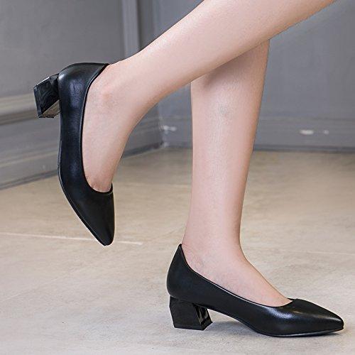 Mujer GAOLIM Con Zapatos Negro De Parte Femeninos Negrita Pro Verano Trabajo Luz Zapatos Un De Chica Zapatos Sugerencia nbsp;5Cm Blanca Con Singles Zapatos La Número Gran En De El Fqw1aFr