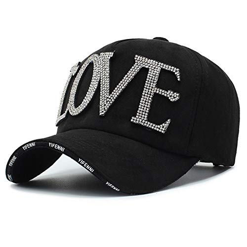LYDIAMOON Baseball Cap Plain Cotton Solid Color Adjustable Washed Rhinestone Letter Accessories Outdoor Sun Protection Hat Adult,Black