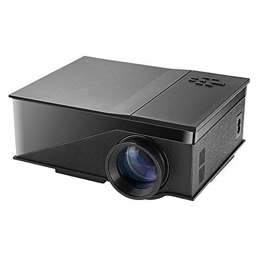 PH400 Mini Portable LED Home Projector Support HD 1080P USB/AV/VGA/HDMI 1200 Lumens 800480 Resolution Home Cineama Theater Color Black