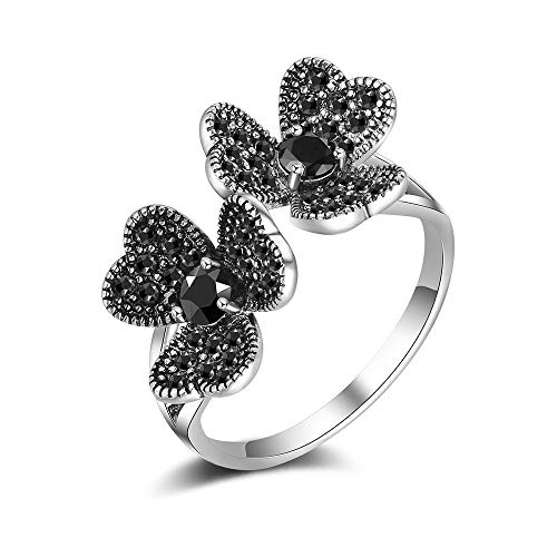 Mytys Marcasite Flower Rings Vintage Silver Womens Open Rings Adjustable Size 7 8 9