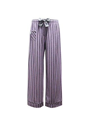 Pants Flannel Pajama Striped (Boxercraft Womens Cotton Flannel Striped Sleep Pants, Large (11-13), Purple and Grey Striped Fantasy)