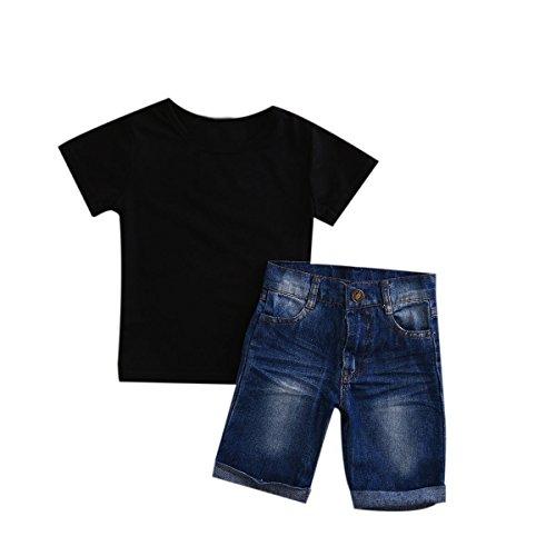 Baby Boy Clothes Set Unisex Cotton T-shirt+Pants (Black) - 7