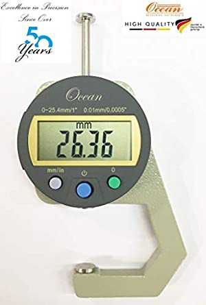 Ocean Metal Pocket Type Digital Thickness Gauge with 0-25 4 mm Range and  0 01 mm/10 Micron Least Count, Multicolour