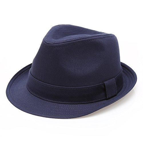Classic Trilby Short Brim 100% Cotton Twill Fedora Hat with Band(Navy,SM)]()