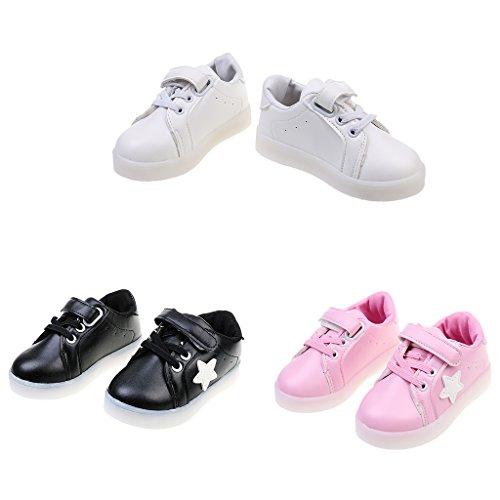1 Par LED Zapatillas De Deporte Zapatos Transpirables Para Niños - Blanco, NC 25; (EE.UU. 10); 25 euros Negro