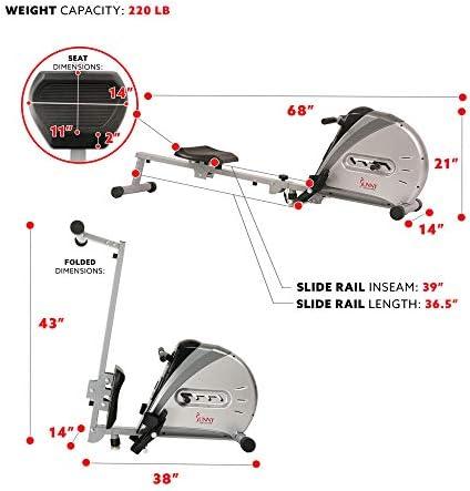 Sunny Health & sf-rw5606Cuerda elástica máquina de Remo de Fitness 7
