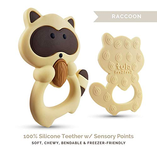 Teething Toys and Teethers by Tulamama. Bendable & Freezer Friendly. Highly Recommended by Moms. 100% Silicone (Similar to Nipples & Pacifiers), BPA & Phthalates Free, FDA Compliant. Raccoon