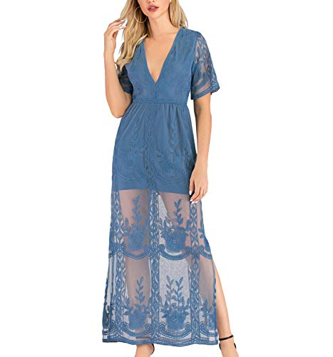 Steel Blue lace Dress for Women Formal Party Wedding Beach Night Engagement Photos Cocktail Suit for Night Out Date(S, Blue)