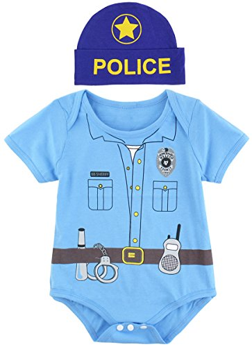 Mombebe Baby Boys' Police Costume Bodysuit with Hat (0-3 Months, Police) (2 Month Baby Halloween Costume)