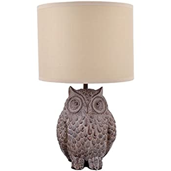 Amazon Com Simple Designs Lt3027 Wht White Porcelain Animal Shaped Table Lamp Wise Owl Home