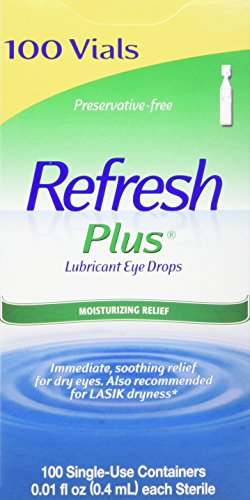 (Refresh Plus Lubricant Eye Drops Long Lasting Relief Plus Protection for Mild To Moderate Dry Eye - 100 Single Use Vials)