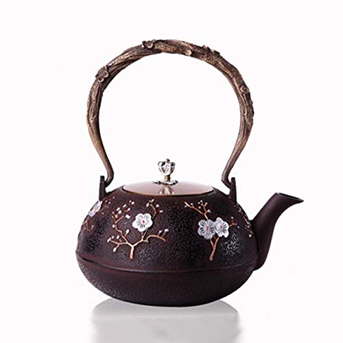 Cherries Pot Coffee - Iron Cast Teapot - Chinese Style Cast Iron Plum Blossom Teapot Floral Half Handmade Coffee Pot Water Dispenser - Cast Porcelain Wash Kettl Cherry Iron Ceramic Basin Drainer Stainless Make