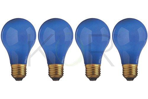 (Pack of 4) 25 Watt Ceramic Blue A19 Incandescent Light Bulb - 130V - Standard E26 Base (Medium) - 25A/B - 25A19/B - (Blue Incandescent Light Bulb)