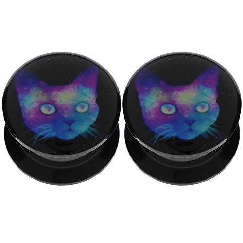0g 8mm Black Cat Acrylic Flesh Tunnels Ear Gauge Plugs Double Flare Saddle Expandder Stretcher Starter Earring