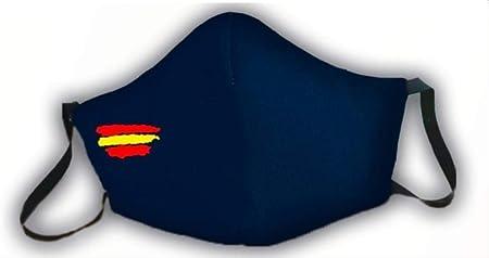 Macarilla azul protectora homologada 3 capas bandera de España: Amazon.es: Hogar