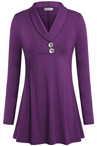 Ouncuty Tunic Tops for Leggings for Women, Ladies Dressy Top Long Sleeve Fowy Fashion Blouses Button Down Shirts D-Purple Large