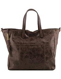 Annie Aged effect leather TL SMART shopping bag Dark Brown