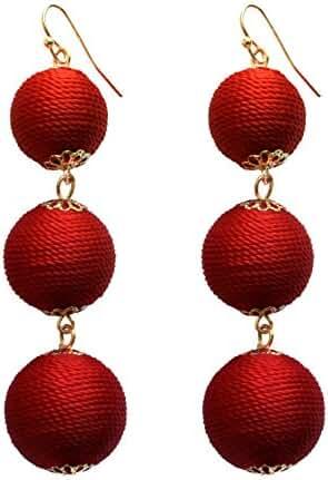 Women's Triple Thread Wrapped Ball Earrings Lantern Beaded Wire Balls Dangle Drop Earrings, 4 Colors