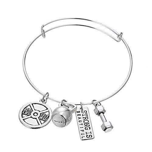 Luvalti Strong is Beautiful Bangle Pendant Bracelet - Weight Plate Barbell Dumbbell Pendant Bracelet