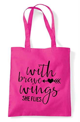 With Tote Brave Statement Shopper Wings Fuschia Bag rqrOtznw