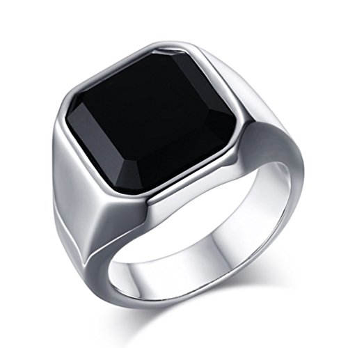Z&X Men's Stainless Steel Band Square Black Onyx Signet Ring Wedding Gift Silver Size 9 -