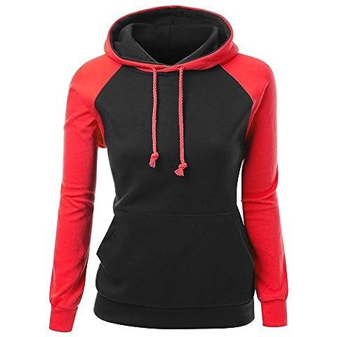 FruitNut Girls Vintage Hoodies Sport Raglan Sleeve Sweatshirt XL Black Red (Last Kings Pouch)