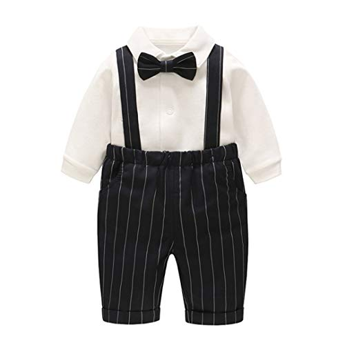Fairy Baby Baby Boy's One Piece Long Sleeve Gentleman Formal Outfit (12-18 Months, White Stripe)