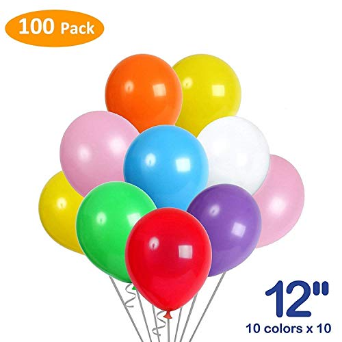 Balloons, Premium Quality Party Balloons, 12 Inches 100 Pcs Assorted Bright Color Latex Balloons for Birthday Party, Anniversary, Baby Shower, Bachelorette Party, Graduation, Bouquets and Engagement P