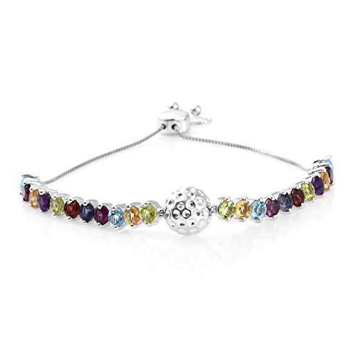 Multi Gemstone Platinum Plated Silver Bolo Fashion Bracelet For Women 5.1 cttw Size - Multi Gemstones Silver Plated