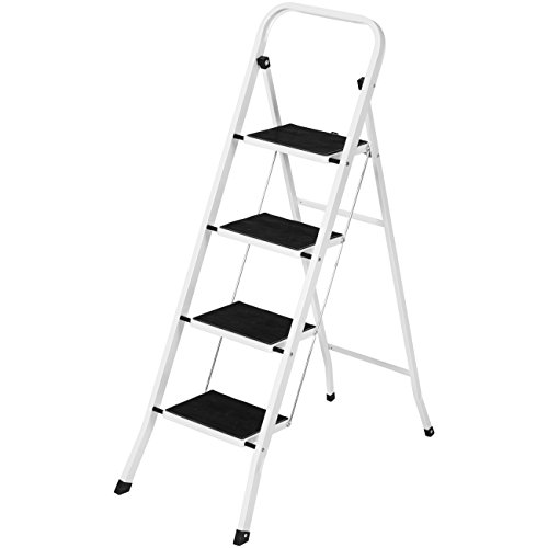 Best Choice Products Portable Folding Steel 4-Step Stool Ladder w/Hand Rail, Wide Platform Steps, 300lbs Capacity - Ladder Steel