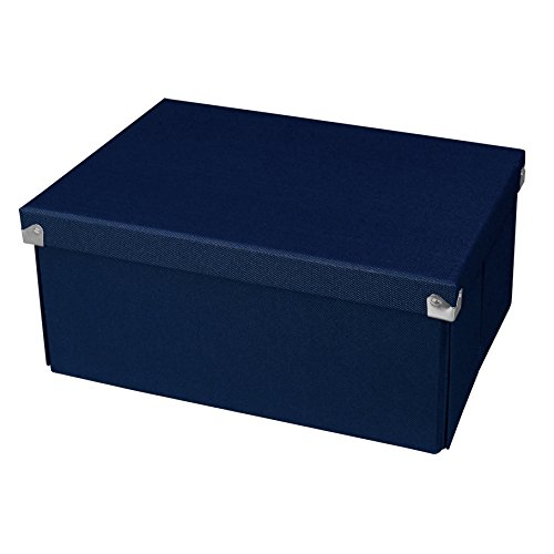 Pop n Store Decorative Storage Box with Lid - Collapsible and Stackable - Medium Document Box - Navy Blue - Interior Size (12x8.5x5.8)