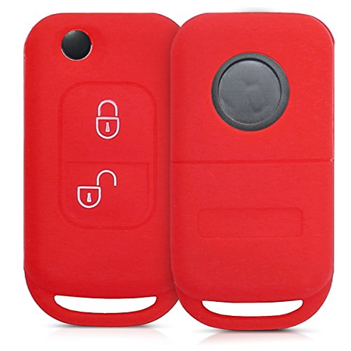 kwmobile Silicone cover for Mercedes-Benz 2 Button Flip Key Protection cover Etui Key Case Cover in red