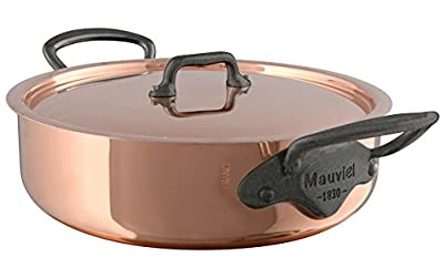 """Mauviel 6480.25 Rondeau/Covered Casserole with Lid. 2.9L/3.1 quart 24cm/9.5"""" Cast stainless Steel Handle with Iron Color Finish, Copper"""