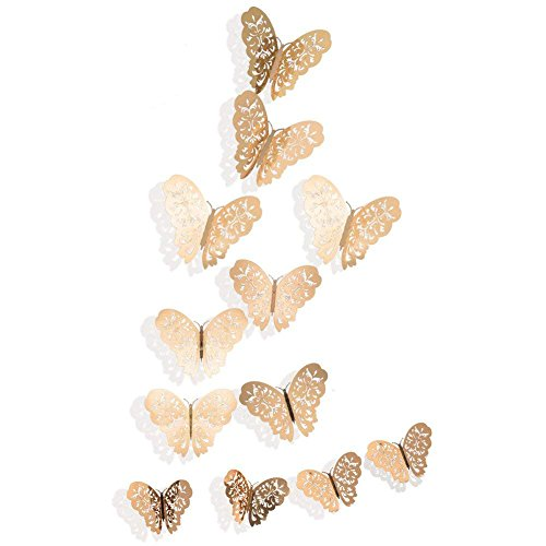 36PCS 3D Butterfly Stickers, Golden Butterfly Wall Stickers Art Wall Decal Butterfly Window Sticker for Home Office Baby Kids Nursery Bedroom Bathroom Fridge Wedding Party (Butterflies Table Topper)
