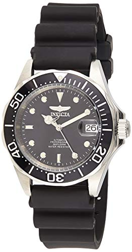 Invicta Men's Pro Diver Automatic 3 Hand Black Dial Rubber Band Watch - 9110, Black Band, Analog Display
