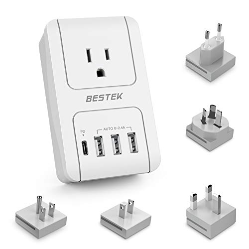 BESTEK International Travel Adapter 30W PD, 3000W Universal Travel Adapter for Hair Dryer, Curling Iron Travel Charger Adapter with Worldwide Wall Plugs for US, UK, AU, EU and Asia, PD 3.0 (3000 Watt Dryer)
