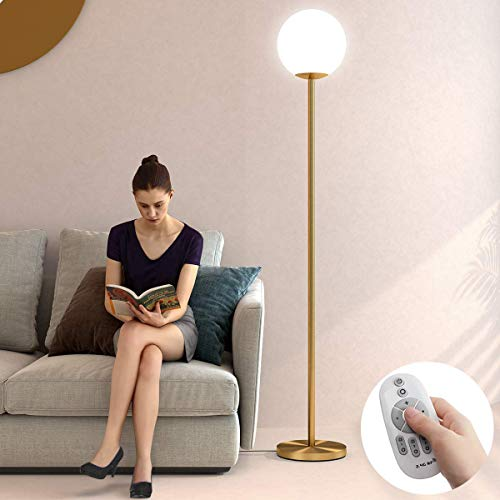 Oneach LED Floor Lamp Remote Control Frosted Glass Globe Floor Lamp Mid Century Modern Standing Lamp for Living Rooms Bedrooms Offices Tall Pole Light with LED Bulb Antique Brass