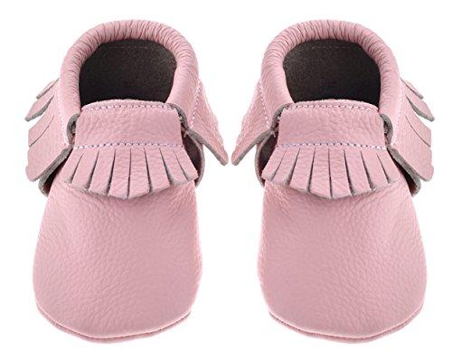 Criança Sayoyo De Sapatos Da Berço Unisex Macios Couro Mocassins Rosa Bebê Borla Únicos rxwBrqCZ