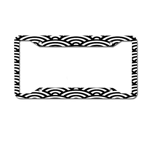 CardlyPhCardH Black Japanese Inspired Waves Shell Pattern Novelty License Plate Tag Metal12-Inches by 6-Inches Etched Aluminum UV Resistant 4 Holes