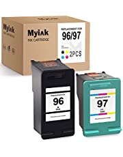 MYIK Remanufactured Ink Cartridge Replacement for HP 96 C8767WN 97 C9363WN to use with DeskJet 6940 6520 6830 5740 6988 6540 6980 OfficeJet 5745 7410 PhotoSmart 8150 8030 (Black, Tri-Color, 2-Pack)
