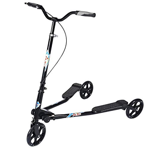 AODI 3 Wheel Foldable Scooter Swing Scooter Tri Slider Kick Wiggle Scooters Push Drifting with Adjustable Handle for Boys/Girl/Adult Age 8 Years Old and Up