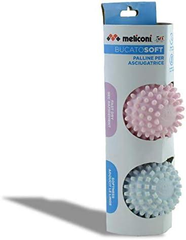 BucatoSoft Secadora para Suavizar y Reducir el Tiempo de Secado 2 Bolas Rosa y Azul Claro Meliconi S
